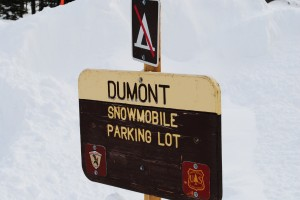 Snowmobile parking at Dumont trailhead