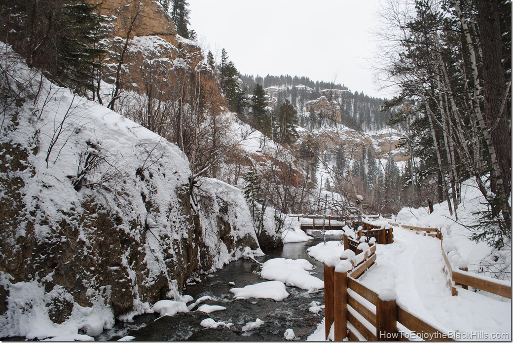 snowshoeing to Roughlock Falls, Spearfish Canyon in the Black Hills of South Dakota