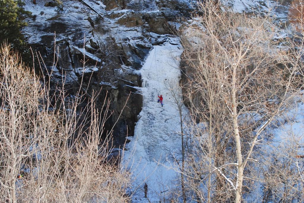 photo Ice Climber on Bridal Veil Falls Spearfish Canyon South Dakota