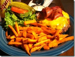 phot the bacon cheese burger with sweet potato fries at the Ponderosa Cafe Hulett Wy
